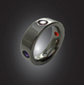 Platinum Compass Ring with 4 Gemstones at North, East, South and West Quadrants