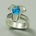 White Gold Ring with Blue Topaz Gemstone